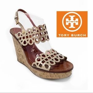 Tory Burch Nori Laser Cut Wedge Sandal In Platinum